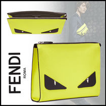 FENDI BAG BUGS Calfskin Street Style Plain Clutches