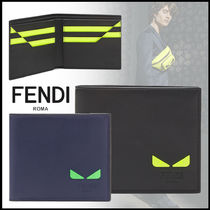 FENDI Calfskin Street Style Plain Folding Wallets