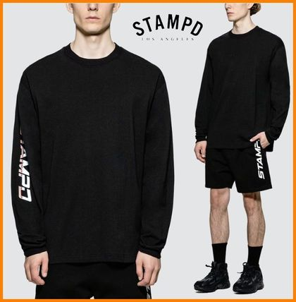 Crew Neck Street Style Long Sleeves Cotton Logo T-Shirt