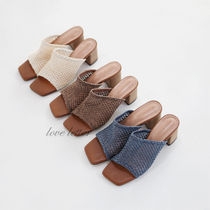 Open Toe Casual Style Plain Chunky Heels Heeled Sandals
