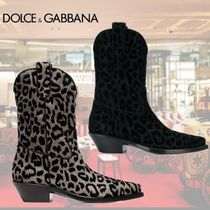 Dolce & Gabbana Leopard Patterns Casual Style Leather Block Heels