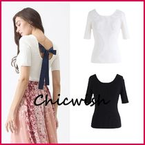 Chicwish Cable Knit U-Neck Plain Medium Short Sleeves Knitwear