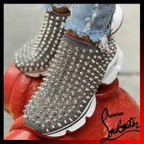 Christian Louboutin Unisex Studded Street Style Plain Loafers & Slip-ons