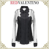 RED VALENTINO Dots Casual Style Nylon Street Style Long Sleeves Plain