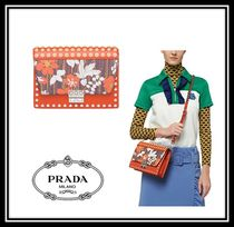 PRADA ELEKTRA Flower Patterns Casual Style Calfskin Studded 2WAY