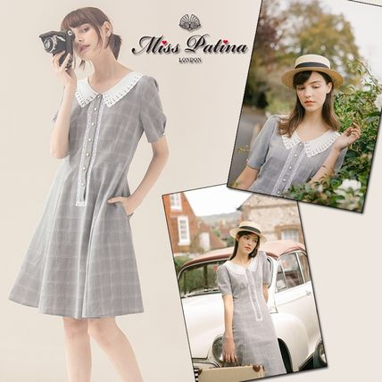 Short Other Check Patterns Casual Style A-line Short Sleeves
