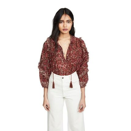 Casual Style Tassel Long Sleeves Cotton Shirts & Blouses