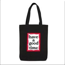 have a good time Unisex Street Style A4 Plain Logo Totes