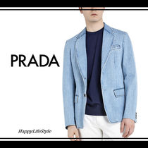 PRADA Short Denim Plain Blazers Jackets