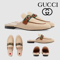 GUCCI Princetown Platform Plain Toe Casual Style Slippers Lace-Up Shoes