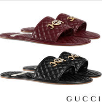 GUCCI Street Style Plain Leather Shower Shoes Bold Shower Sandals