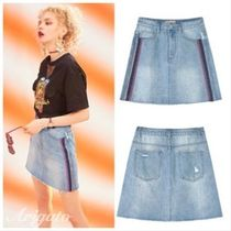 ELF SACK Pencil Skirts Short Stripes Denim Street Style Plain