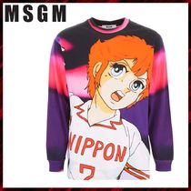 MSGM Crew Neck Long Sleeves Cotton Long Sleeve T-Shirts