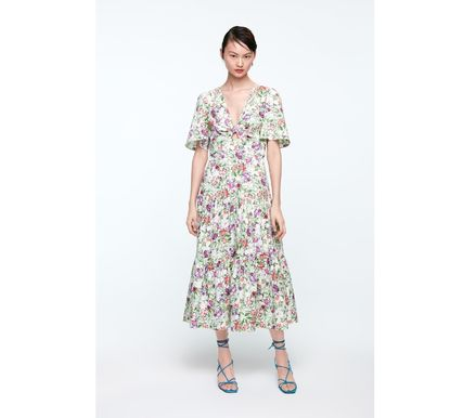 Flower Patterns Medium Short Sleeves Dresses