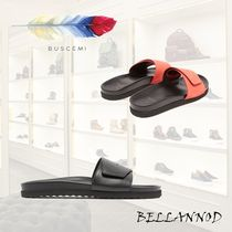 BUSCEMI Street Style Plain Leather Shower Shoes Shower Sandals