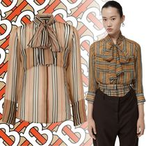 Burberry Stripes Silk Cropped Elegant Style Shirts & Blouses