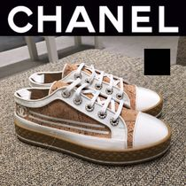 CHANEL SPORTS Round Toe Rubber Sole Lace-up Casual Style Blended Fabrics