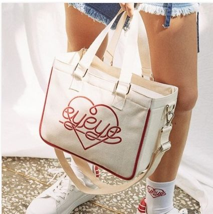 Heart Casual Style Unisex Canvas Street Style 2WAY Totes