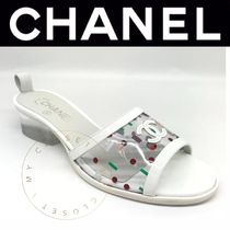 CHANEL ICON Other Check Patterns Open Toe Blended Fabrics Street Style