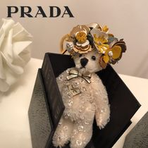 PRADA Blended Fabrics Leather With Jewels Keychains & Bag Charms
