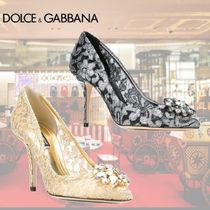 Dolce & Gabbana Leather Pin Heels Elegant Style Pointed Toe Pumps & Mules