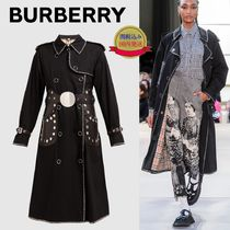 Burberry Studded Plain Long Trench Coats
