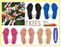 TKEES Open Toe Casual Style Suede Street Style Plain Shoes