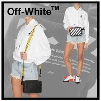 Off-White Stripes Casual Style 2WAY Leather Shoulder Bags