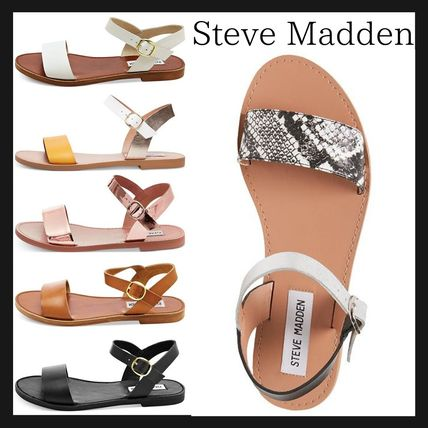 Open Toe Casual Style Plain Leather Python Sandals
