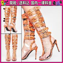 DOLLS KILL Open Toe Casual Style Faux Fur Pin Heels Python