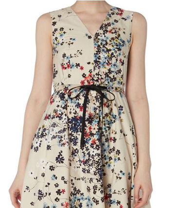 Flower Patterns A-line Sleeveless V-Neck Cotton Medium