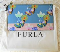 FURLA Flower Patterns Leather Clutches