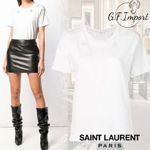 Saint Laurent Crew Neck Star Cotton Short Sleeves T-Shirts