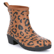 HUNTER Leopard Patterns Round Toe Rubber Sole Rain Boots Boots