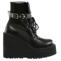 PUMA Casual Style Street Style Plain Leather Wedge Boots