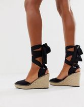 ASOS Open Toe Lace-up Casual Style Plain Platform & Wedge Sandals