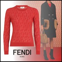 FENDI Crew Neck Monogram Rib Long Sleeves Cotton Medium