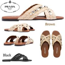 PRADA Open Toe Casual Style Blended Fabrics With Jewels Sandals