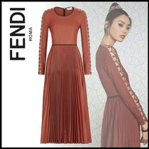 FENDI Wool Long Sleeves Plain Medium Elegant Style Dresses