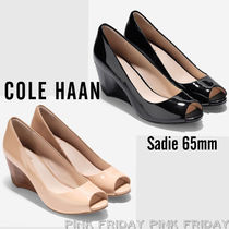 Cole Haan Open Toe Casual Style Plain Leather Peep Toe Pumps & Mules