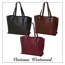 Vivienne Westwood Casual Style Unisex A4 Leather Totes