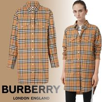 Burberry Other Check Patterns Long Sleeves Cotton Long Oversized