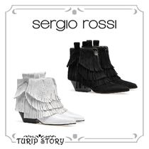 Sergio Rossi Platform Plain Leather Fringes Elegant Style
