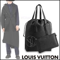 Louis Vuitton TAURILLON Blended Fabrics Street Style A4 2WAY Plain Leather Totes