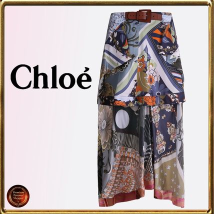 Flower Patterns Casual Style Silk Skirts