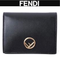 FENDI Unisex Plain Leather Folding Wallets