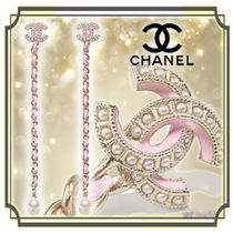 CHANEL Chain Leather Elegant Style Earrings & Piercings