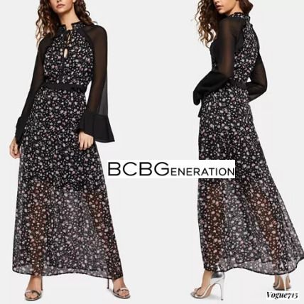 Flower Patterns Maxi Chiffon Long Sleeves Dresses