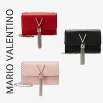Mario Valentino Faux Fur Chain Plain Party Style Party Bags