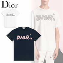 Christian Dior Unisex Street Style Collaboration Plain Cotton Short Sleeves